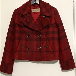 Burberry Brit Red Check, Short  Pea Coat. Size 2.
